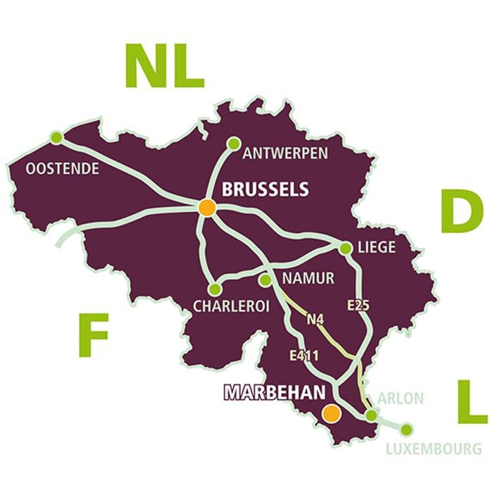 map - office in Brussels - plant in Marbehan Belgium